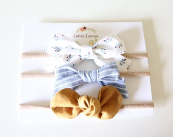 Peyton Bow Trio/ baby headbands/ summer baby bows/ cute baby bows/ baby headbands/ nylon headbands/ floral baby bows