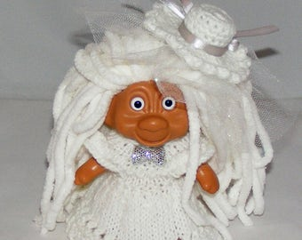 "4.5"" TNT Troll Doll, All White - Eyes, Hair, Dress, Panties, Tulle Hat Clip"