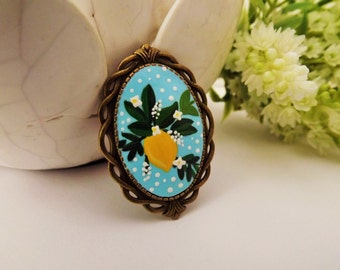 Spring Feel Brooch.  Lovely Vintage Handmade Hand Painted Cameo Necklace Polymer Clay Pendant Jewelry Nickel Free Metal