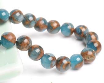 Ocean Blue Stone Beads With Gold Sand, Full Strand 15.5 inch, Round Ocean Blue Sandstone, Gemstones, 4mm 6mm 8mm 10mm 12mm - B149