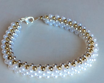 Woven bracelet made with 3mm white glass pearl beads, silver plated steel balls and gold filled steel balls