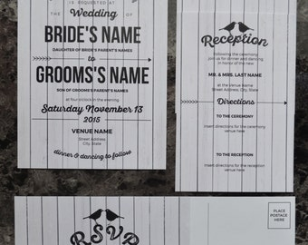 Digital Wedding Invitation Set - Digital files with one sided invitation, two sided reply, and two sided details