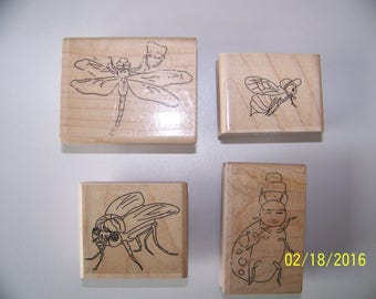 Set of 4 Wood-Mounted Bug Rubber Stamps