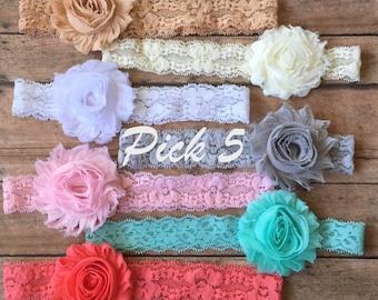 PICK 5 Shabby Lace Headbands/Baby Headband/Baby Girl Headband/Newborn Headband/Lace Baby Headband/Headband Gift Set/Headband Set/Headbands