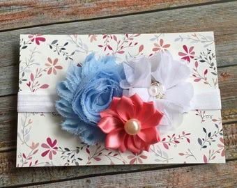 Spring Headband/Coral Baby Headband/Baby Headband/Newborn Headband/Easter Headband/Coral and Blue/Infant Headband/Headbands/Toddler Headband