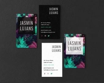 Jasmin • Premade Floral Fashion Business Card Design | Add Your Own Logo