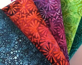 Batik Bundle by Wilmington Prints Spring 2016 Collection, 5 different fabrics, Parasol Batik