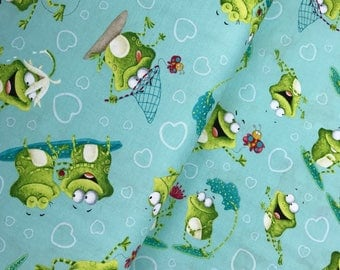 Aqua Tossed Frogs from the Frogland Friends Collection by Nidhi Wadhwa for Henry Glass Fabrics