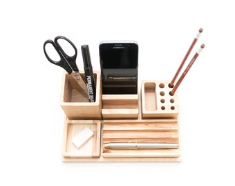 Wooden desk organizer - Big table organizer - Wooden office organizer - Table organization - Complete desk storage - Male gift