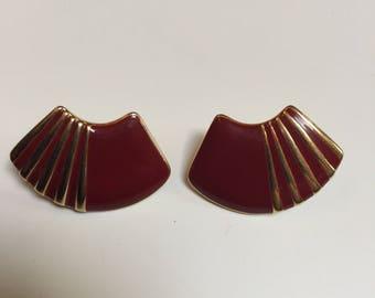 Trifari Maroon and Gold Tone Pierced Fan Earrings