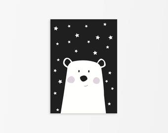 Black and White Polar Bear Print, Nursery Polar Bear, Nursery Black and White Decor,Polar Bear Art poster,Animal Print,Bear Illustration