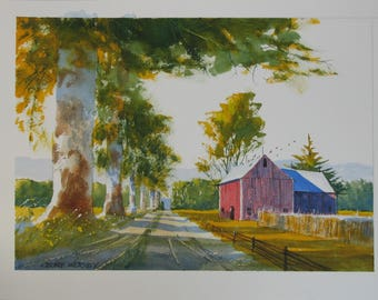 Country road artwork, landscape watercolor painting, red barn, #122