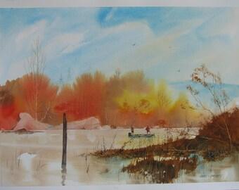 Autumn fishing artwork, Fall fishing, watercolor painting, signed original artwork, #132