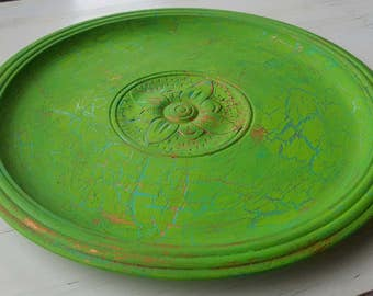 Vintage Shabby Chic green carved plate