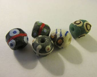 Multi-Colored Handmade African Recycled Glass Beads, 10mm, Set of 5