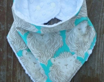 Brave Lion Teal and Grey with White Minky Baby Toddler Bandana Style Drool Bib
