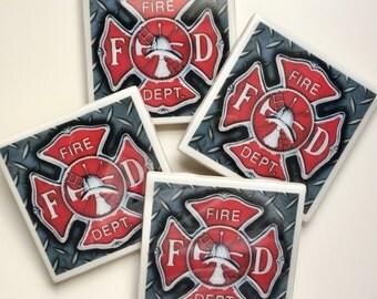 Set of 4 Ceramic Resin Tile Coasters: Firefighter