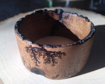 Wood Bangle Bracelet / Electrocuted / Fractal