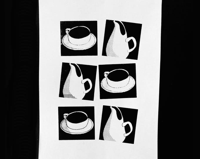Russel Wright ceramics. Black and white silkscreen print by Liza Cowan