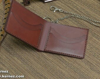Chain Wallet, Gift For Him, Man Wallet, Simple Wallet, horween leather, Gift Ideas for Him, Biker Wallet, biker wallet, Minimal Leather