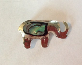 Vintage Mexico sterling silver elephant brooch African wild life animal