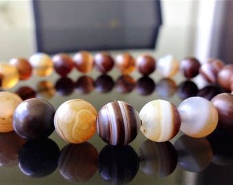 Genuine Matte Brown Banded Agate Bracelet for Men (Stretch) 8mm - AAA Quality