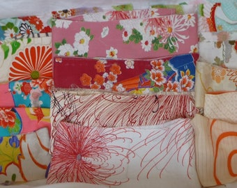 Assorted antique / vintage Japanese Kimono fabric 100g - small strip no.4