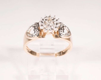 10K Yellow Gold Diamond Illusion Cluster Ring, size 7.25