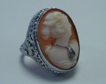 14K White Gold Filigree Cameo Ring size 2.75