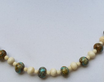 Lamp-Work Glass and Bone Beads Necklace