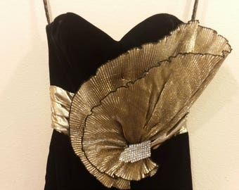 Reserved for Poscy - Black & Gold Velvet 80s Prom Dress