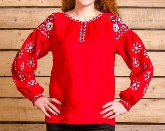Great red emdroidered blouse, linen shirt, traditional ukrainian clothing, vyshyvanka red white. Ethnic clothing. Free Shipping.