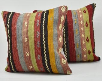 Vintage Pillow, Turkish Pillow, kilim Pillow, Oushak Pillow, Anatolian Pillow, Cushion Cover, Vintage Cushion, Two Pillow Covers, 50 x 50 cm