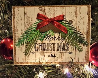 Merry Christmas Card, Holiday Card, Handmade Christmas Card