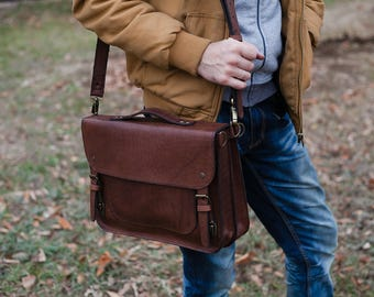 Man leather briefcase