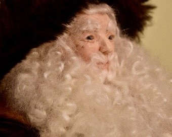 Father Christmas, 20 inch OOAK Sculpted Polymer Clay Art Doll