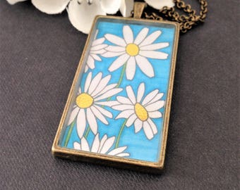 Handmade daisy gift necklace - Handmade gift flower pendant  - Gift pendant for Daisy - Pendant  - Daisy Design Necklace - Jewellery Gift