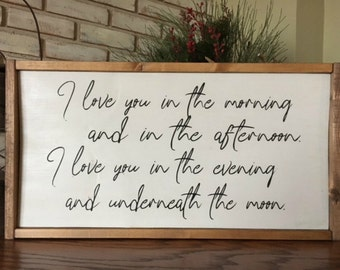 Love You in the Morning Wood Sign - Rustic Decor - Farmhouse - Home Decor