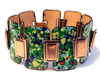 Vintage Copper Enamel Bracelet 1950s Mid-Century Modern Modernist Matisse Renoir