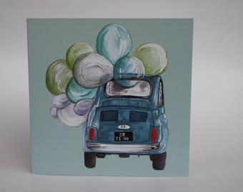 Greeting card Fiat 500