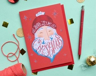 Santa Christmas Card - With Love Xmas Card - Father Christmas Card - Beard Christmas Card - With Love At Christmas - Santa Beard Card