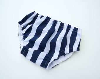 Navy stripes diaper cover for boys-Baby boy bloomers-Boy nappy cover-Stripes baby bloomers-Cotton baby boy diaper cover
