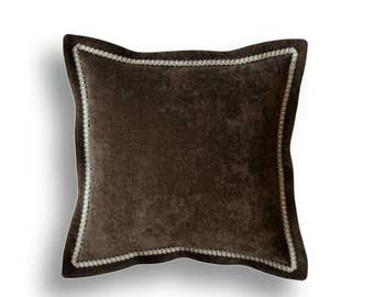 Throw Pillow Cover -Brown Pillow Cover -Brown Velvet Pillow Cover- Embellished Pillow Cover -Velvet Pillow Cover -Flange Pillow -Trim Pillow