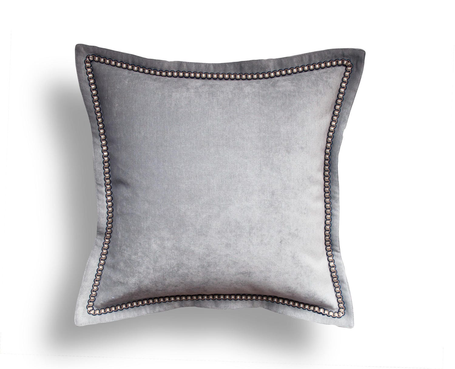 gray velvet throw pillow cover solid throw pillow gray - 🔎zoom