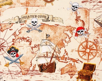 Pirates Cove Ship Map Fabric by Timeless Treasures Fabrics by the Half Yard