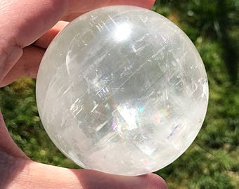Clear Calcite 7cm Crystal Sphere