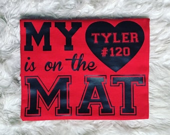 My heart is on the mat wrestling shirt