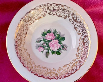 Pretty in Pink-Georgian China Tudor Rose 22 Karat Bowls