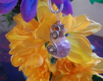 Amethyst in a bottle  Pendant necklace with swarvorski charm. sterling silver