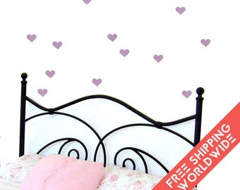 Heart Lilac Light Pastel Wall Decals Stickers Decor Nursery Baby Girl Modern & Scandinavian - Sets of 25